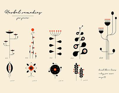 Herbal remedies illustrations