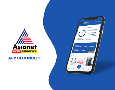 Asianet GigaFibernet Broadband App UI Concept