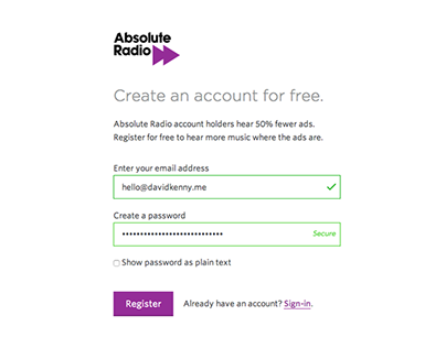 Account sign up process