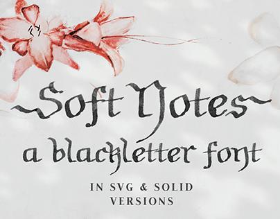 Soft Notes blackletter SVG font & free sample