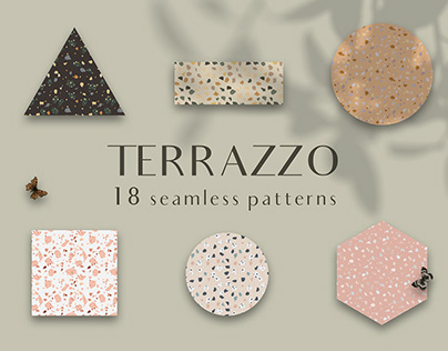 Terrazzo seamless patterns set