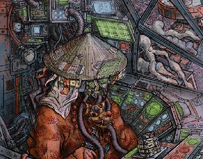 Asian cyberpunk - Pilot Samurai - Personal project