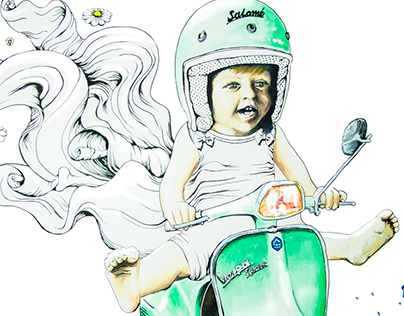"""Wall Painting - """"The Baby Ride"""""""