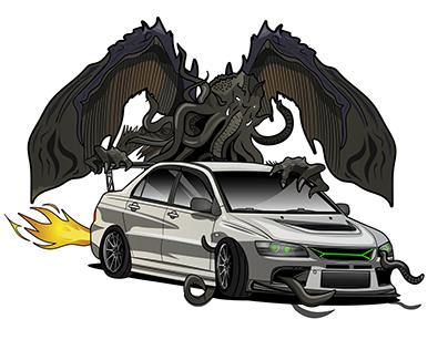 Mitsubishi Evo 8 with Cthulhu