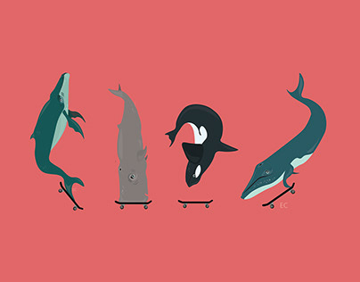 Whales on Skateboards.