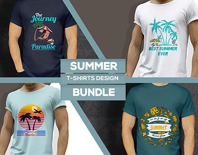 Summer T-shirt Design Bundle .