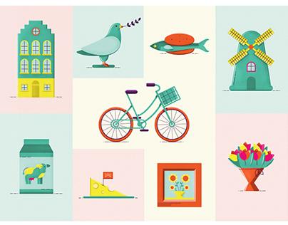 Modern & colorful Dutch illustrations