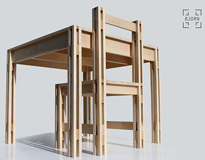 Furniture set inspired by vertical architecture.