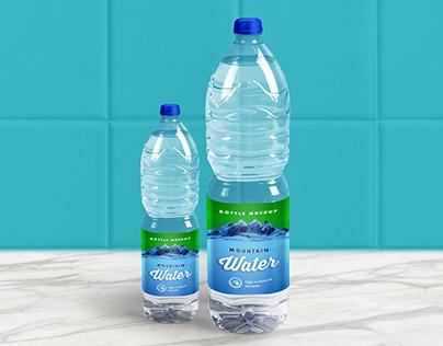 Free 1 Liter Mineral Drinking Water Bottle Mockup PSD