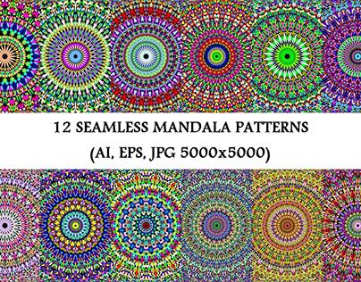 12 Colorful Seamless Gravel Mandala Patterns