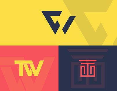 TW combined letter mark logo design