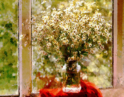 Field daisies by the window
