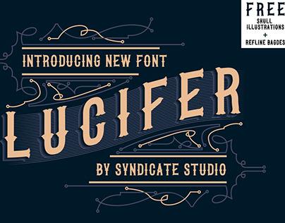 LUCIFER Font FREE 2 SKULL ILLUSTRATION AND 4 BADGES