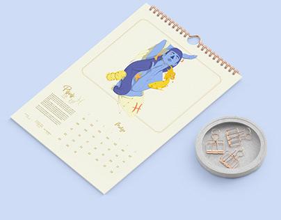 Calendario Zodiaco y mitos griegos 2021