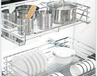 Giá để bát đĩa xoong nồi đa năng inoxen