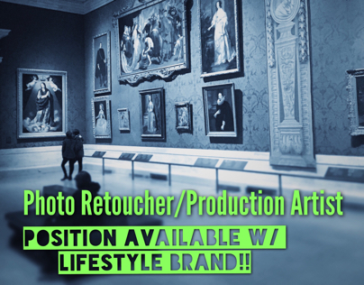 Production Artist / Photo Retoucher job!!