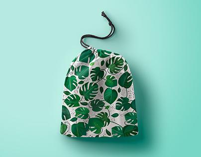 Monstera green leaf. Tropical leaves patterns set.