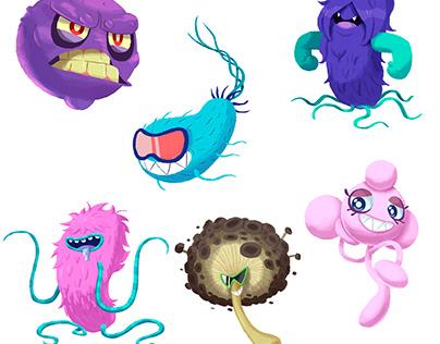 Diseases character design for: Quan Studio