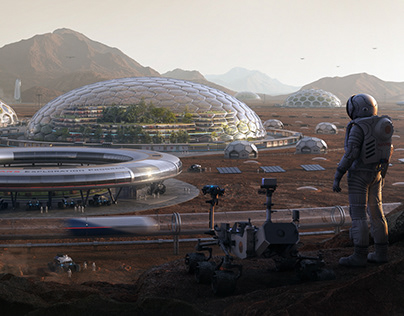 Between The Red Mountains. Project of City on Mars. CGI