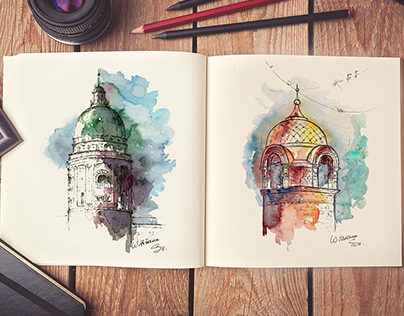 Original watercolor illustrations and sketches.