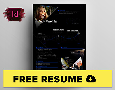 Free Minimalistic Resume/CV - InDesign