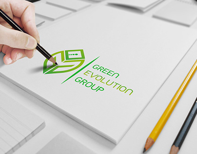 Green Evolution Group Logo Design With Unique Mock ups