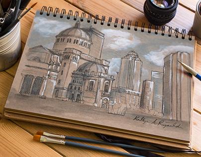 Scene of Boston Illustration