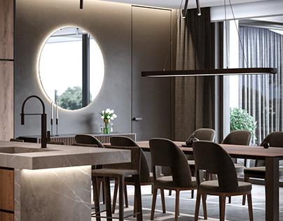 Дизайн интерьера модульного дома 175 м кв.