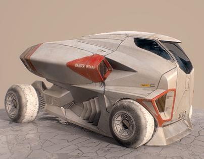 Jet Truck salt flats racer low poly