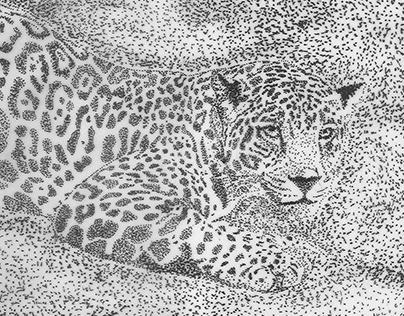 Leopardo puntillismo blanco y negro