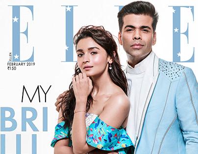 Alia Bhatt and Karan Johar for Elle February Issue 2019