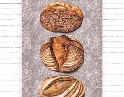 watercolor food illustration of artisan bread bakery