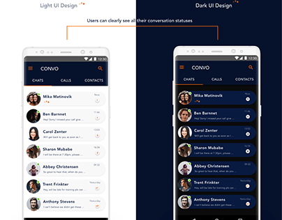 Convo- A messaging App with Dark and Light UI Themes