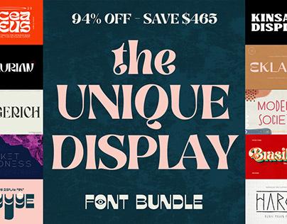 THE UNIQUE DISPLAY FONT BUNDLE - 94% OFF