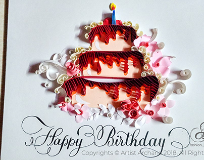 HAPPY BIRTHDAY - PAPER QUILLING ARTWORK