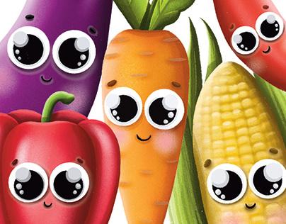 Vegetables cards design for children
