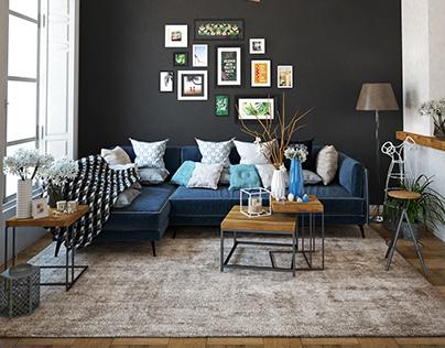 Scandinavian living room - v-ray practice