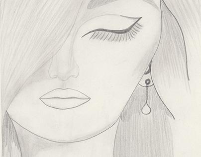 Shy Hand Drawn Female Face