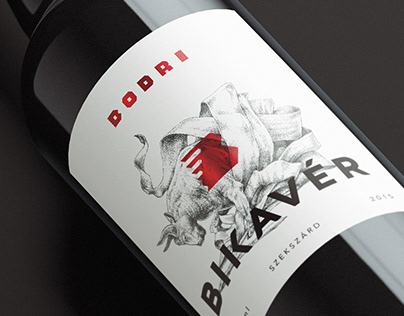 Bodri Bikavér—Wine label design