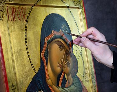 Working on the icon Eleusa