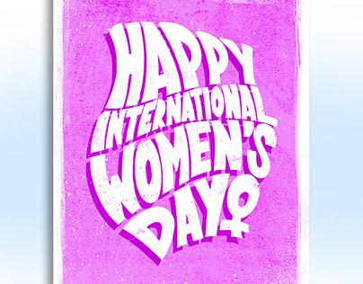 Digital lettering Happy internation women's day 2020