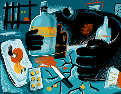 Illustrations for the article about alcoholism