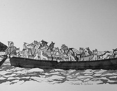 'Boat Crossing' illust. from Native Born Son