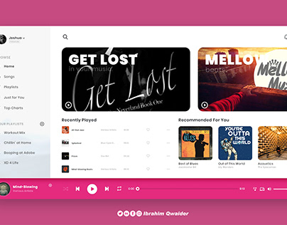 Website user interface design for music