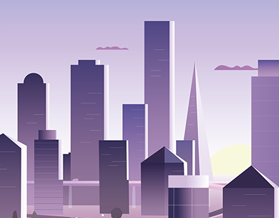 City and Mountains Illustrations