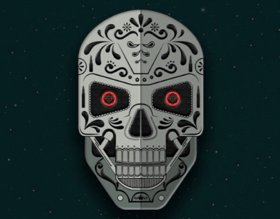 Luchapop Terminator Day Of The Dead Pin
