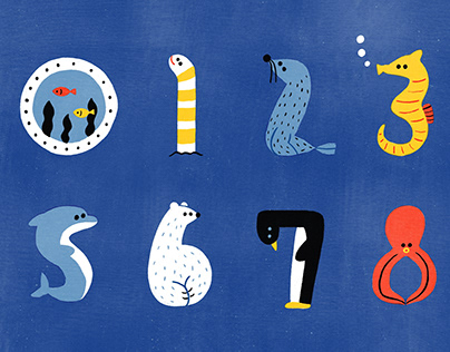 Sea creatures with numbers