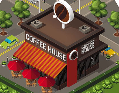 Isometric buildings asset for board game