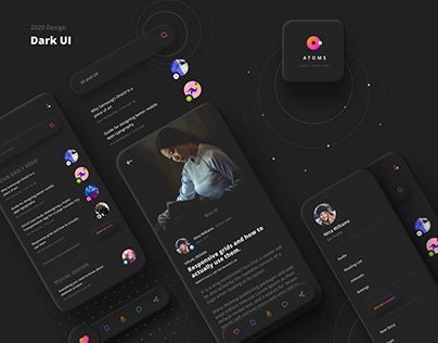 "Atoms ""Neumorphism"" UI UX Blog Daily Read Application"
