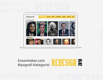 Ensonhaber Biyografi Kategorisi UX / UI Tasarım